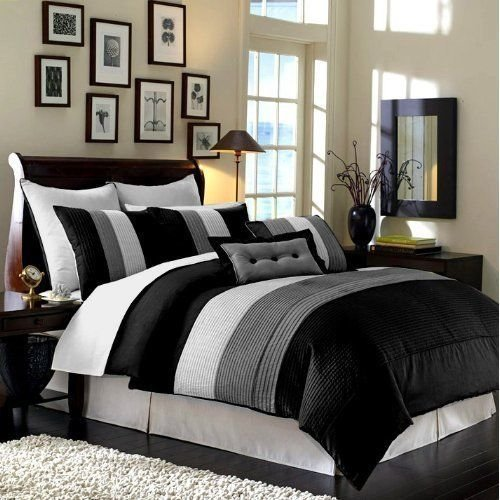 black and white striped comforter - Chezmoi Collection 6-Piece Luxury Stripe Comforter Bed-in-a-Bag Set, Black-White-Grey, Twin
