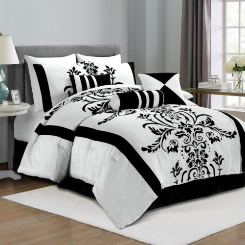 black and white floral comforter set - Chezmoi Collection 7-Piece White with Black Floral Flocking Comforter Set Bed-in-a-Bag for King Size Bedding, 106 by 92-Inch