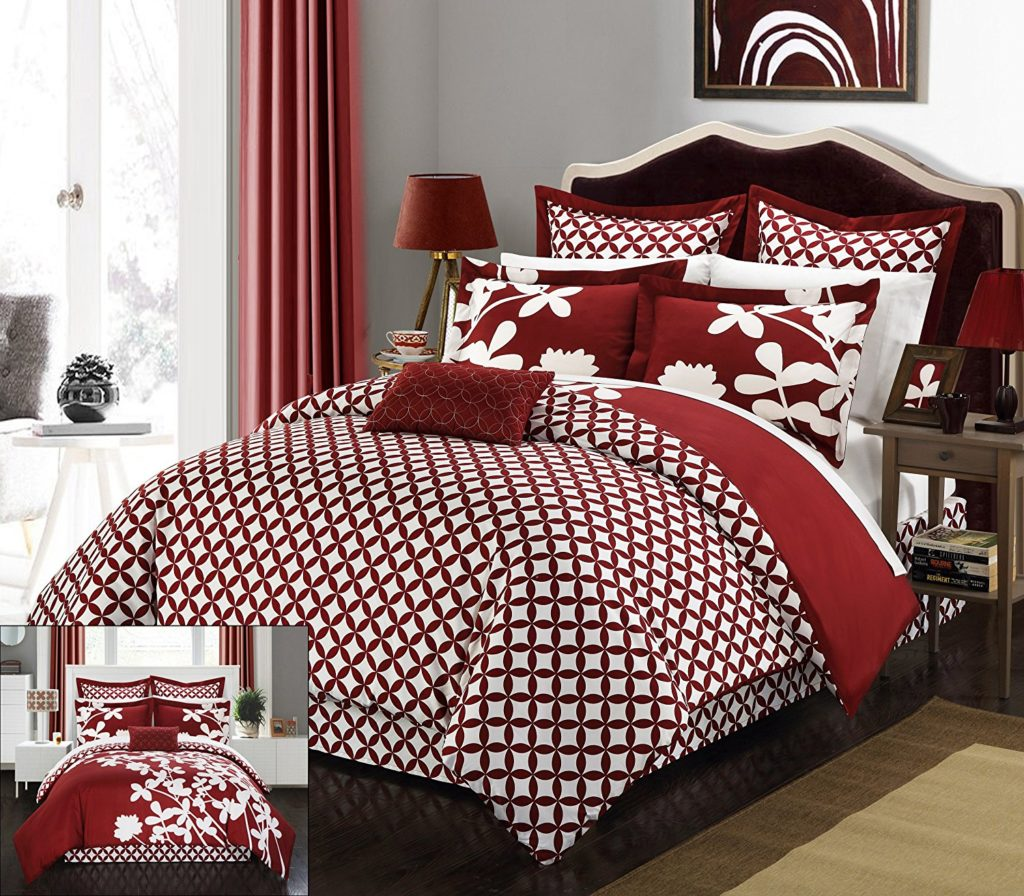 Burgundy Comforter Sets - Chic Home 11 Piece Iris Reversible large scale floral design printed with diamond pattern reverse King Comforter Set Red With sheet set