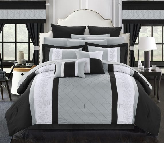 black and white comforter king - Chic Home 24 Piece Danielle Complete Pintuck Embroidery Color Block Bedding, Sheets, Window Panel Collection Bed in a Bag Comforter Set, King, Black