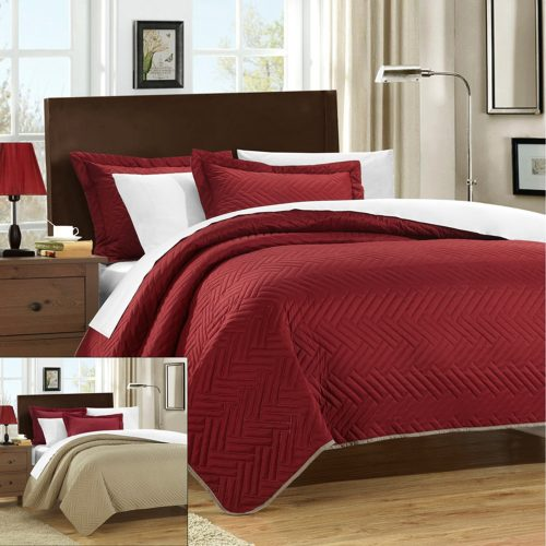 Burgundy Quilt - Chic Home 3 Piece Chevron Blocks Palermo Reversible Quilt, Queen, Red