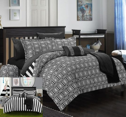 black and white reversible comforter - Chic Home 8 Piece Paris Reversible Geometric and Striped Comforter Sheet Set, Twin X-Long, Black
