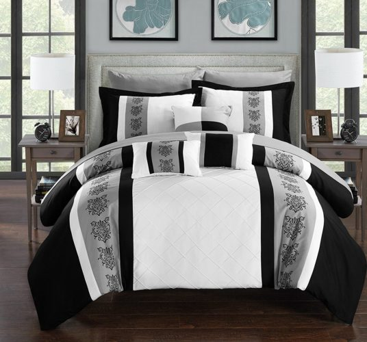 black and white comforter king - Chic Home Clayton 10 Piece Comforter Set Pintuck Pieced Block Embroidery Bed in a Bag with Sheet Set, King Black White