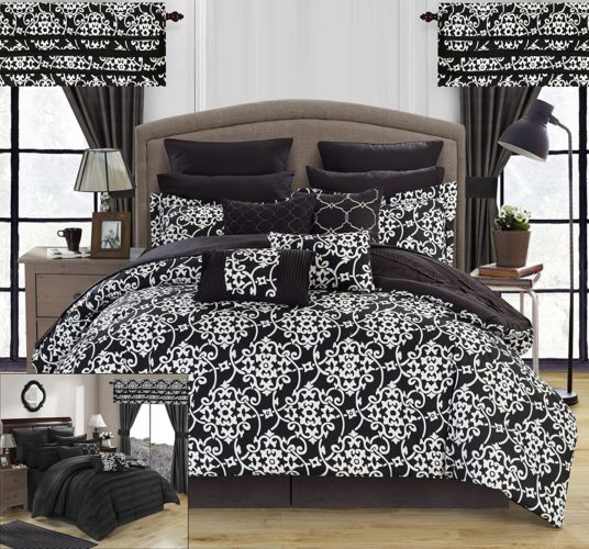black and white comforter king - Chic Home Hailee 24 Piece Comforter Set Complete Bed in a Bag Pleated Ruffles and Reversible Print with Sheet Set & Window Treatment, King Black