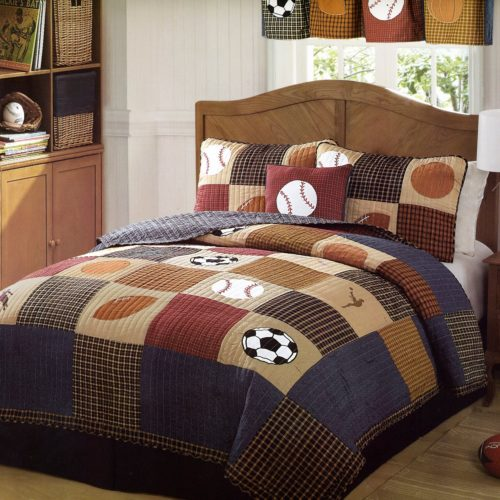 Classic Sports Full-Queen Quilt and 2 Pillow Shams by Pem America - Red White and Blue Boys Bedding