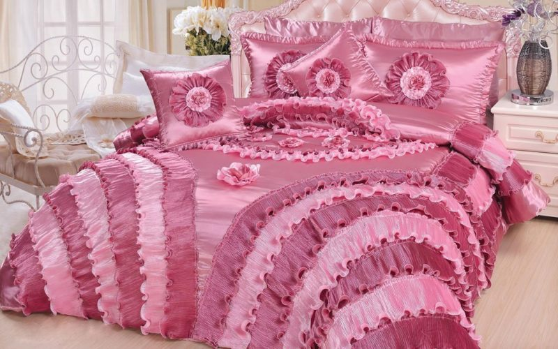 DaDa Bedding 5-Piece Victorian Satin Comforter Set, California King, Pink - Victorian Bedding Collections