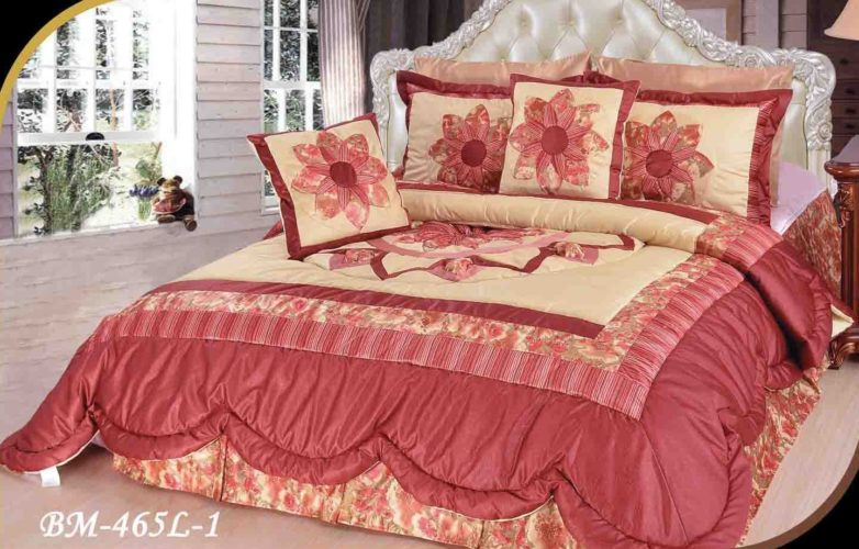 Burgundy Bedspreads - DaDa Bedding BM465L-1 5-Piece Patchwork Sunset Rubies Quilt Set, California King, Burgundy