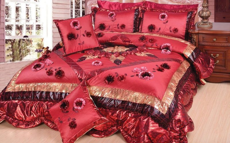 Burgundy Comforter Sets - DaDa Bedding Crimson Cherries Comforter Quilt Bed Set, Twin, Deep Red, 3-Pieces