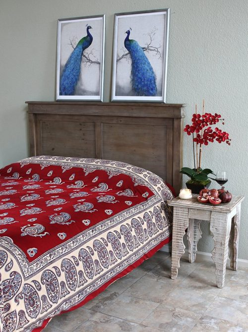 Dancing Paisleys ~ Paisley Print Vintage Red Queen Bedspread 90x90