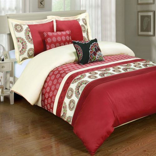 Deluxe Reversible Chelsea Comforter Set, 100% Cotton 300 Thread Count Bedding, woven with superior single-ply yarn. 6 Piece Full-Queen Size Comforter Set, Red and Ivory