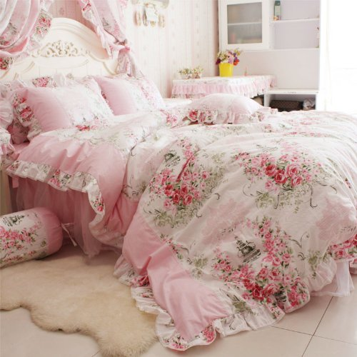 FADFAY Home Textile Pink Rose Floral Print Duvet Cover Bedding Set For Girls 4 Pieces King Size - victorian bedding collections