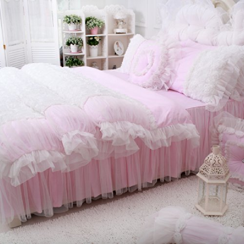 FADFAY Home Textile,Beautiful Korean Rose Bedding Sets,Luxury Girls Pink Lace Ruffle Bedding Sets,Romantic Princess Wedding Bedding Set,Girls Fairy Bedding Sets - victorian bedding collections