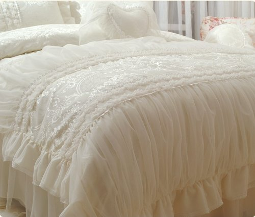 FADFAY Home Textile,Beautiful Milk White Ruffle Bedding Set,Korean Bedding Sets,Girls Lace Ruffled Bedding Set,9Pcs,Queen - victorian bedding collections