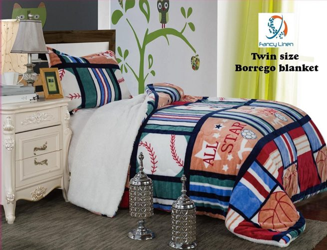 Red White and Blue Boys Bedding - Fancy Collection 2pc Twin Size Teens-boys Blanket Sumptuously Soft Plush Sport Blue Red Green with Sherpa Winter Blankets Bedspread Super Soft New