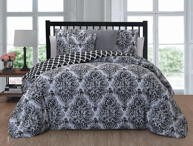 black and white comforter king - Geneva Home Fashion Teagan 5-Piece Comforter Set King, Black-White