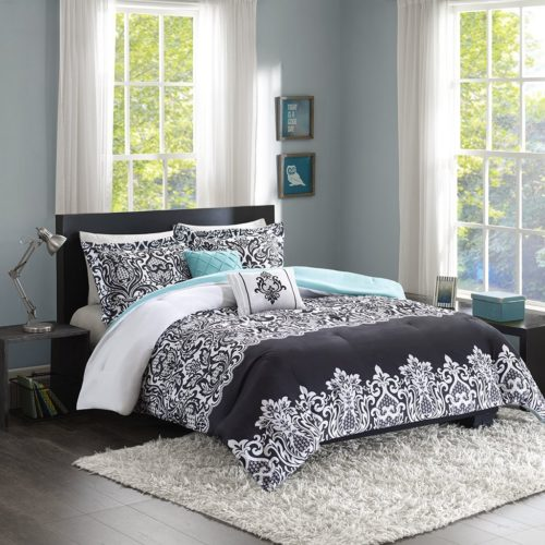 black and white comforter twin - Intelligent Design Leona Comforter Set, Twin- Twin X-Large, Black