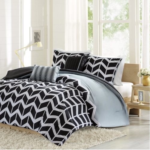 black and white comforter twin - Intelligent Design -Nadia -All Seasons Comforter Set -4 Piece - Black - Geometric Pattern - Twin-TwinXL Size