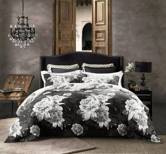 Jieshiling Cotton Wrinkle Count Egyptian Quality Duvet Cover Set,(Queen black)