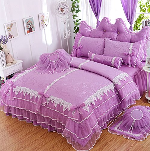 LELVA Girls Bedding Set Ruffle Lace Bedding Set Bedding Set Beautiful Princess Wedding Bedding Set (Twin, Purple) - purple shabby chic bedroom
