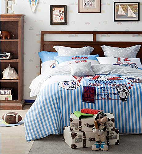 LELVA Sports Style Bedding Set Kids Bedding for Boys 100% Cotton Baseball Bedding Twin Full Queen (Full, Flat Sheet) - Red White and Blue Boys Bedding