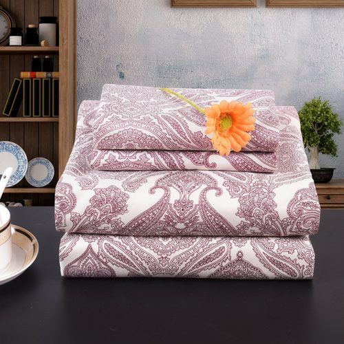 Lullabi Premium Collection 100% Ultra Soft, Double-side Brushed Finish, Microfiber Bed Sheets Set - Fitted, Flat sheet, Pillowcases, Wrinkle, Fade, Stain Resistant (PAISLEY, QUEEN)