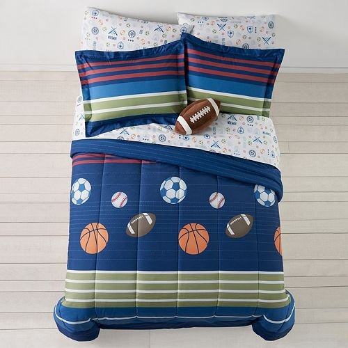 MVP Sports Boys Baseball, Basketball, Football Twin Comforter Set (5 Piece Bed In A Bag)