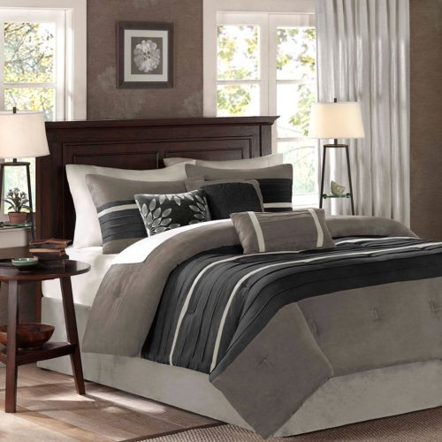 black and white comforter sets queen - Madison Park Palmer 7 Piece Comforter Set, Queen, Black-Gray