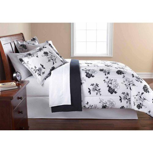 black and white comforter king - Mainstay 8 Piece OPP Floral Bed in Bag Comforter Set, Black-White, King