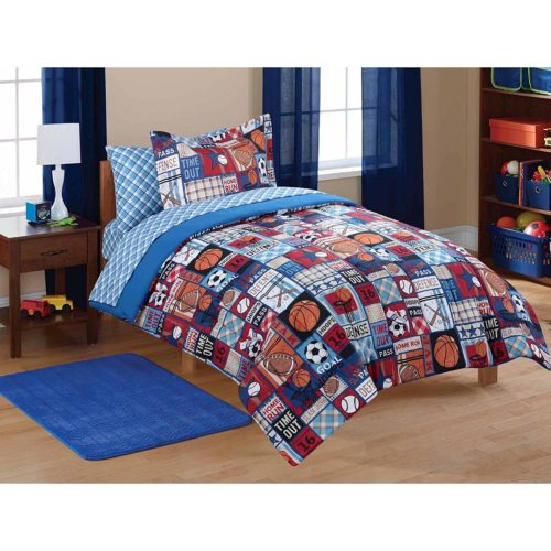 Red White and Blue Boys Bedding - Mainstays Kids Sports Patch Coordinated Bedding Set - TWIN