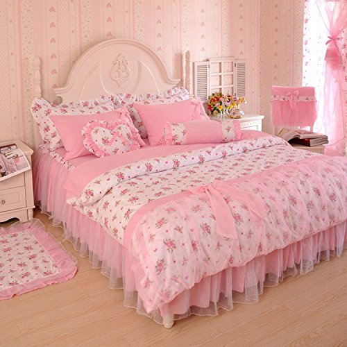 MeMoreCool Home Textile Elegant Design Pastoral Style Floral Lace Princess Bedding Set Girly Ruffle Duvet Cover Fashion Exquisite Falbala Bed Skirt Queen Size 4Pcs - shabby chic vintage bedding