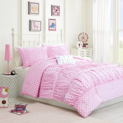 Mizone Lia 4 Piece Comforter Set, Pink, Full-Queen - shabby chic vintage bedding collections