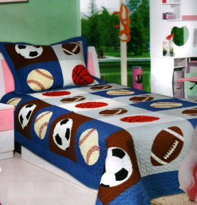 Mk Collection 2 Pc Bedspread Boys Sport - Football Basketball Baseball Twin - Twin Extra Long 68 x 90 New - Red White and Blue Boys Bedding