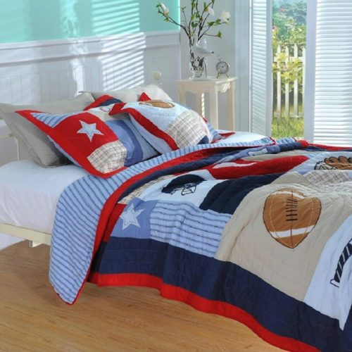 NEWLAKE Kids Quilt Bedspread Set, 2 Pieces of Comforter Sets, Baseball Pattern, Twin Size - Red White and Blue Boys Bedding