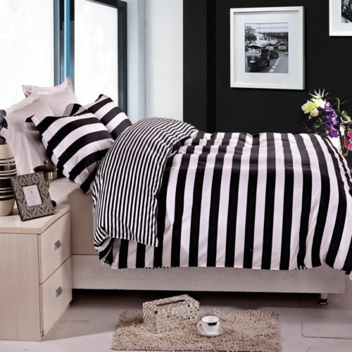 black and white striped bedding - NTBAY 3 Pieces Duvet Cover Set Black and White Stripe Printed Microfiber Reversible Design(Full-Queen, Stripe)