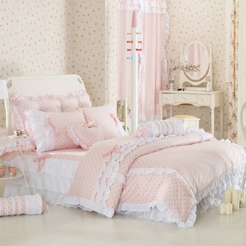 Pink Polka Dot Bedding Sets,Rustic Girls Duvet Cover Set ,Queen Size,4Pcs - victorian bedding collections
