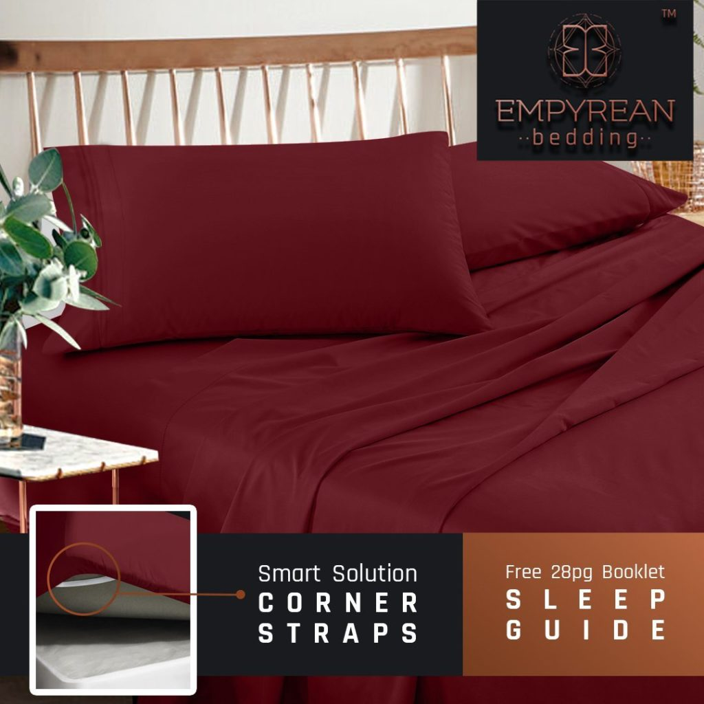remium Twin XL Sheets Set - Red Burgundy Hotel Luxury 3-Piece Bed Set, Extra Deep Pocket Special Super Fit Fitted Sheet, Best Quality Microfiber Linen Soft & Durable Design + Better