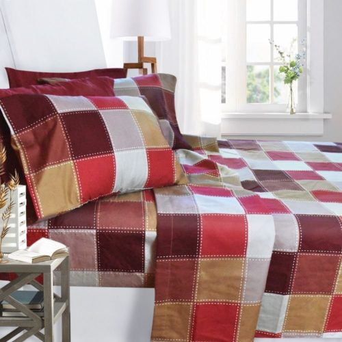 Burgundy Bedspread - Printed Bed Sheet Set, Queen Size - Checkerboard - By Clara Clark, 6 Piece Bed Sheet 100% Soft Brushed Microfiber, With Deep Pocket Fitted Sheet, 1800 Luxury Bedding Collection, Hypoa