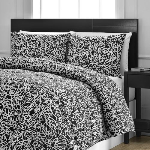 black and white comforter sets queen - Reversible Comforter 3-Piece Set - Down Alternative Medium Weight by ExceptionalSheets, Full-Queen, Snowflake