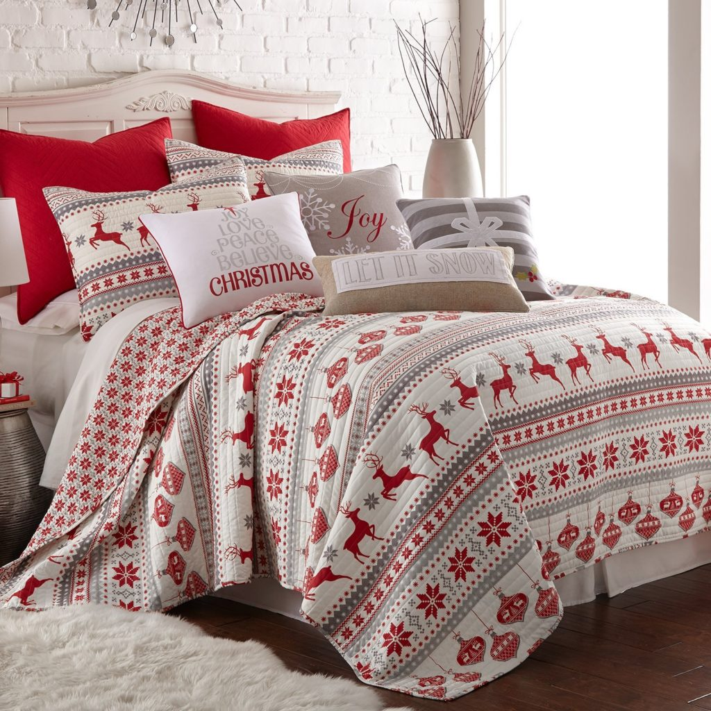 Silent Night Full-Queen Quilt Set, Red-Grey-White, Cotton Christmas Holiday