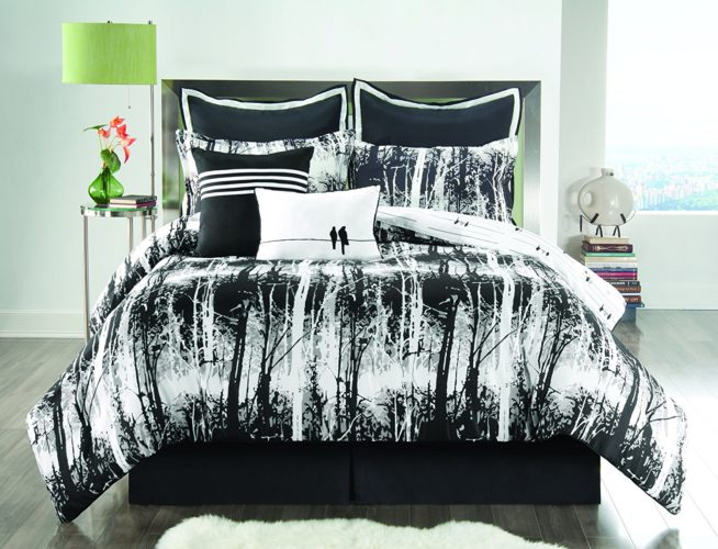 black and white comforter twin - Sunset and Vine Woodland 6-Piece XL Twin Comforter Set, Black-White