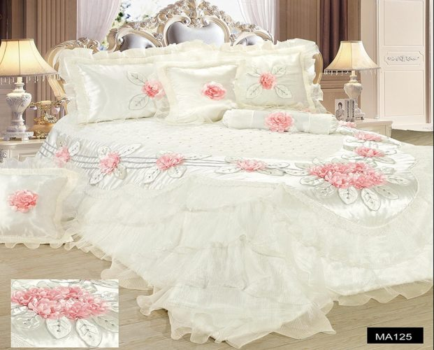 Tache Home Fashion MA125-Q Tache 6 Piece Floral Delicate Rose Pink White Luxurious Comforter Set, Queen - victorian bedding collections