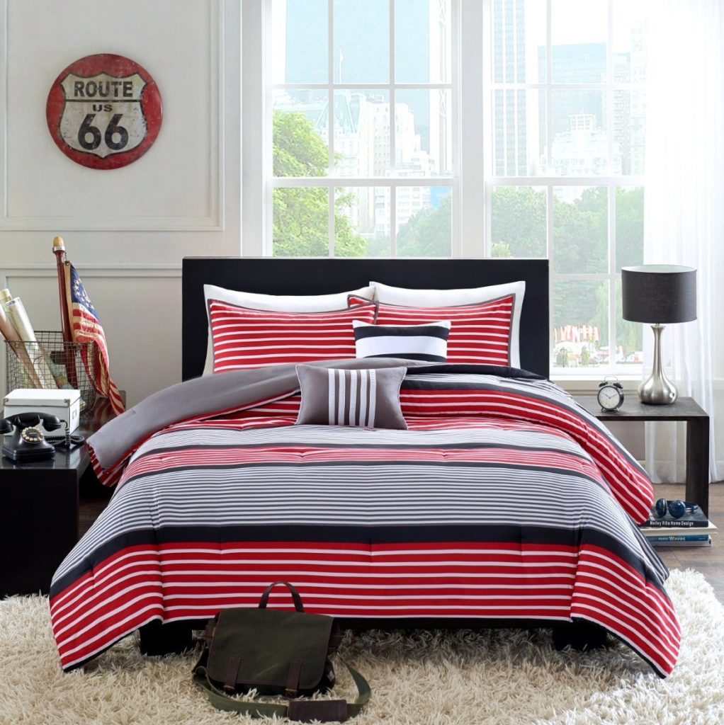 Teen Boys Rugby Stripe Red Black Gray FULL QUEEN Comforter + 2 Shams +2 Decorative Pillows + Home Style Sleep Mask Boy Kids Comforters Sets (Full-Queen Red Black)