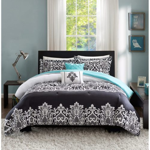 black and white comforter sets queen - Teen Girl Bedding Damask Girls Comforter Black White Aqua Teal Full Queen Bedspread Sets for Kids Teenage Teens Floral Medallion