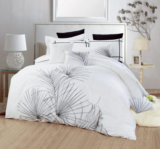 black and white duvet cover king - Tevel Soft Hypoallergenic 300TC 100% Cotton 3pc Percale Duvet Cover Set Breathable Tropical Plant Embroidered Bedding Collection, King White