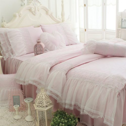TideTex 4pc Romantic Light Pink Princess Bedding Sets European Rural Bedding Sets 100%Pure Cotton Bed Skirt Lace Flouncing Duvet Cover Set Girls Fairy Bedding Sets (King, Light) - victorian bedding collections