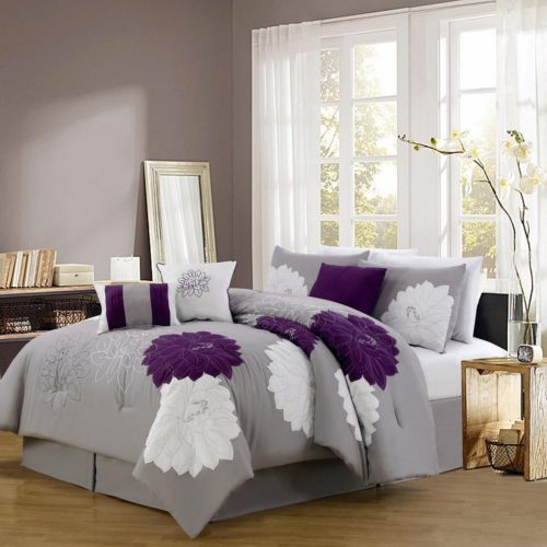 floral purple bedding - 11 Piece Queen Provence Embroidered Bed in a Bag Set