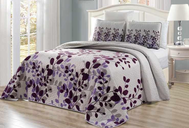 floral purple bedding - 3-Piece Fine printed Oversize (100in X 95in) Fresca Quilt Set Reversible Bedspread