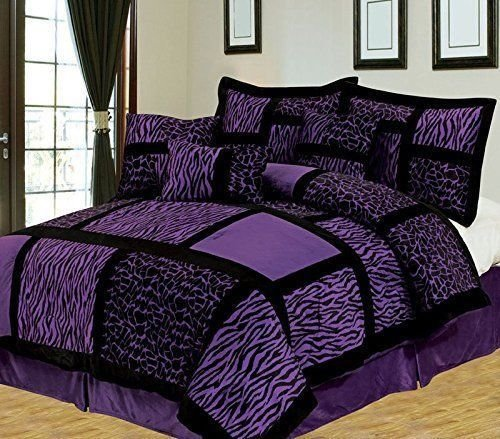 Purple Bedding King - Anissa Collection Luxurious 11-Piece Micro Suede Soft Comforter Set & Bed Sheets Limited-Time SALE!! (Purple Safari, King)