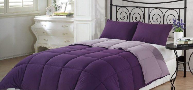 Purple Bedding Ideas - Chezmoi Collection 3-Piece Purple Lilac Super Soft Goose Down Alternative Reversible Comforter Set, Queen-Full Size