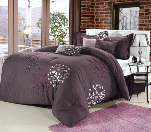 Chic Home Cheila 8-Piece Comforter Set, Queen, Plum
